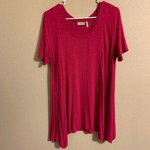 LOGO by Lori Goldstein pink tunic top M